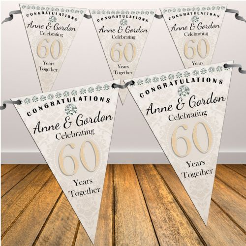Personalised Diamond 60th Wedding Anniversary Celebration Flag Bunting - N45